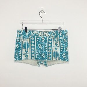 Forever 21 Aztec Teal/Off-white Shorts Sz 30